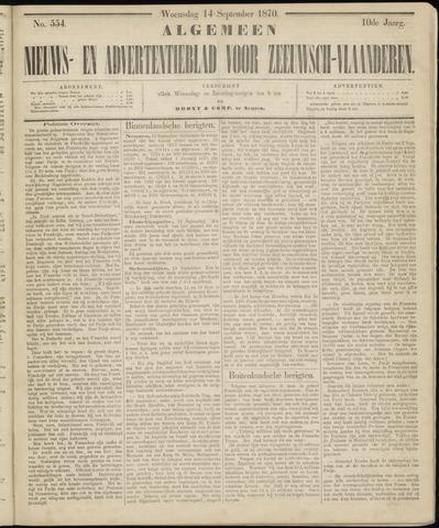 Ter Neuzensche Courant. Algemeen Nieuws- en Advertentieblad voor Zeeuwsch-Vlaanderen / Neuzensche Courant ... (idem) / (Algemeen) nieuws en advertentieblad voor Zeeuwsch-Vlaanderen 1870-09-14