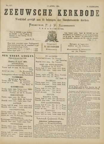 Zeeuwsche kerkbode, weekblad gewijd aan de belangen der gereformeerde kerken/ Zeeuwsch kerkblad 1891-04-11