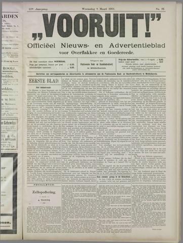 """""""Vooruit!""""Officieel Nieuws- en Advertentieblad voor Overflakkee en Goedereede 1911-03-08"""