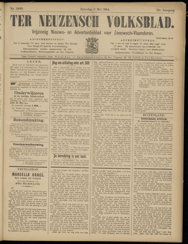 Ter Neuzensch Volksblad. Vrijzinnig nieuws- en advertentieblad voor Zeeuwsch- Vlaanderen / Zeeuwsch Nieuwsblad. Nieuws- en advertentieblad voor Zeeland 1914-05-02