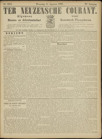 Ter Neuzensche Courant. Algemeen Nieuws- en Advertentieblad voor Zeeuwsch-Vlaanderen / Neuzensche Courant ... (idem) / (Algemeen) nieuws en advertentieblad voor Zeeuwsch-Vlaanderen 1886-08-11