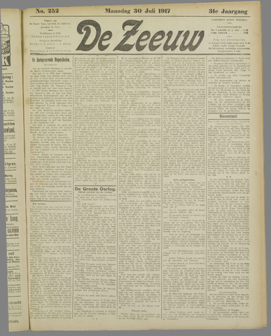 De Zeeuw. Christelijk-historisch nieuwsblad voor Zeeland 1917-07-30