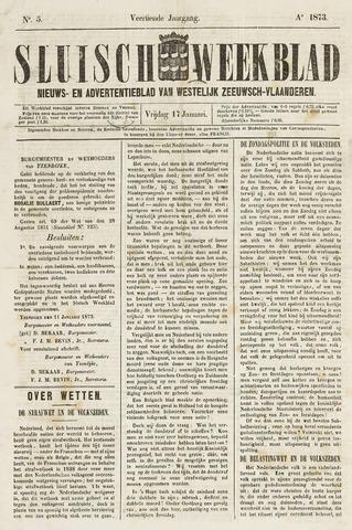 Sluisch Weekblad. Nieuws- en advertentieblad voor Westelijk Zeeuwsch-Vlaanderen 1873-01-17