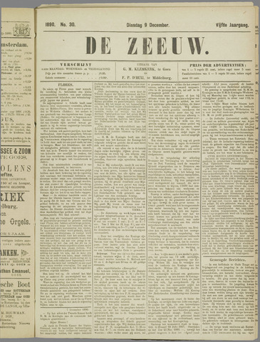 De Zeeuw. Christelijk-historisch nieuwsblad voor Zeeland 1890-12-09