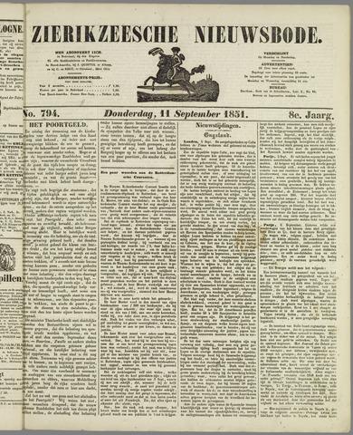 Zierikzeesche Nieuwsbode 1851-09-11