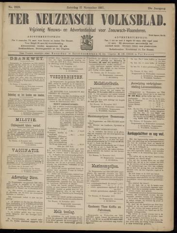 Ter Neuzensch Volksblad. Vrijzinnig nieuws- en advertentieblad voor Zeeuwsch- Vlaanderen / Zeeuwsch Nieuwsblad. Nieuws- en advertentieblad voor Zeeland 1917-11-17