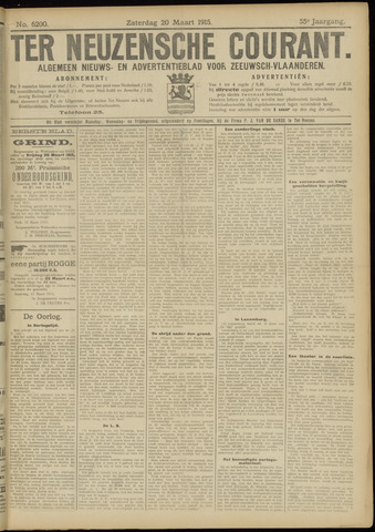 Ter Neuzensche Courant. Algemeen Nieuws- en Advertentieblad voor Zeeuwsch-Vlaanderen / Neuzensche Courant ... (idem) / (Algemeen) nieuws en advertentieblad voor Zeeuwsch-Vlaanderen 1915-03-20