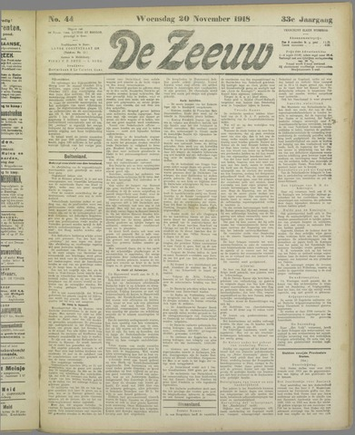 De Zeeuw. Christelijk-historisch nieuwsblad voor Zeeland 1918-11-20