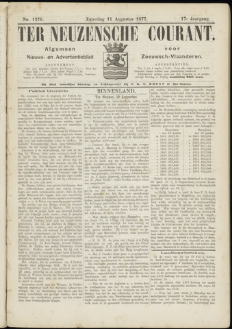 Ter Neuzensche Courant. Algemeen Nieuws- en Advertentieblad voor Zeeuwsch-Vlaanderen / Neuzensche Courant ... (idem) / (Algemeen) nieuws en advertentieblad voor Zeeuwsch-Vlaanderen 1877-08-11