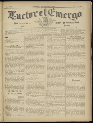 Luctor et Emergo. Antirevolutionair nieuws- en advertentieblad voor Zeeland / Zeeuwsch-Vlaanderen. Orgaan ter verspreiding van de christelijke beginselen in Zeeuwsch-Vlaanderen 1916-09-20