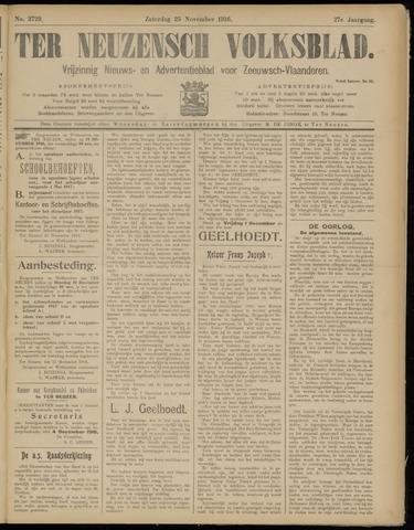 Ter Neuzensch Volksblad. Vrijzinnig nieuws- en advertentieblad voor Zeeuwsch- Vlaanderen / Zeeuwsch Nieuwsblad. Nieuws- en advertentieblad voor Zeeland 1916-11-25