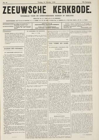 Zeeuwsche kerkbode, weekblad gewijd aan de belangen der gereformeerde kerken/ Zeeuwsch kerkblad 1938-10-14