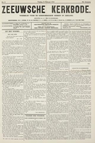 Zeeuwsche kerkbode, weekblad gewijd aan de belangen der gereformeerde kerken/ Zeeuwsch kerkblad 1934-02-23