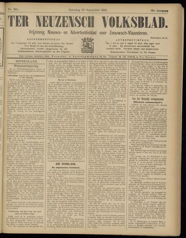 Ter Neuzensch Volksblad. Vrijzinnig nieuws- en advertentieblad voor Zeeuwsch- Vlaanderen / Zeeuwsch Nieuwsblad. Nieuws- en advertentieblad voor Zeeland 1915-09-25