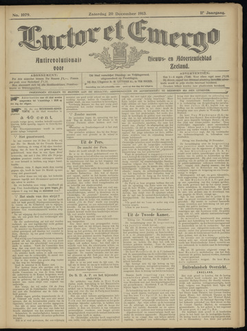 Luctor et Emergo. Antirevolutionair nieuws- en advertentieblad voor Zeeland / Zeeuwsch-Vlaanderen. Orgaan ter verspreiding van de christelijke beginselen in Zeeuwsch-Vlaanderen 1913-12-20