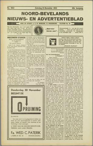 Noord-Bevelands Nieuws- en advertentieblad 1933-11-25