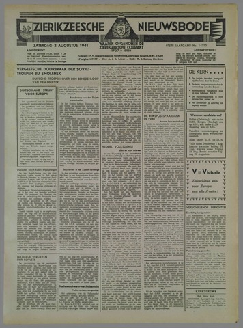 Zierikzeesche Nieuwsbode 1941-08-03