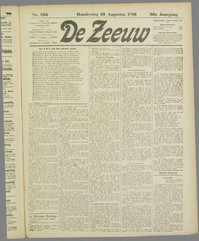 De Zeeuw. Christelijk-historisch nieuwsblad voor Zeeland 1916-08-10