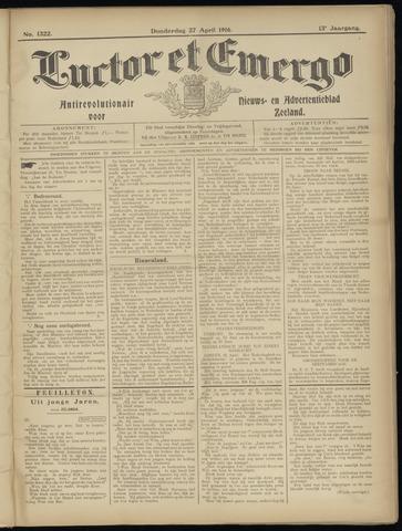 Luctor et Emergo. Antirevolutionair nieuws- en advertentieblad voor Zeeland / Zeeuwsch-Vlaanderen. Orgaan ter verspreiding van de christelijke beginselen in Zeeuwsch-Vlaanderen 1916-04-27