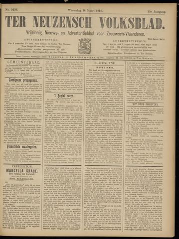 Ter Neuzensch Volksblad. Vrijzinnig nieuws- en advertentieblad voor Zeeuwsch- Vlaanderen / Zeeuwsch Nieuwsblad. Nieuws- en advertentieblad voor Zeeland 1914-03-18