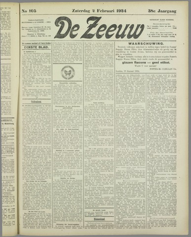 De Zeeuw. Christelijk-historisch nieuwsblad voor Zeeland 1924-02-02