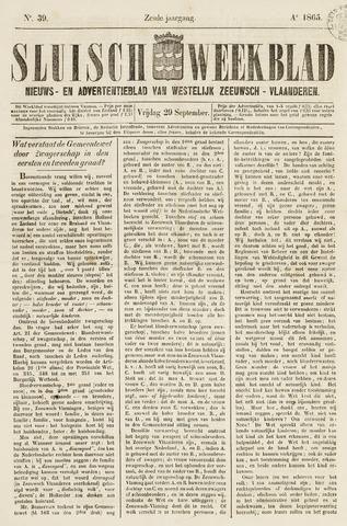 Sluisch Weekblad. Nieuws- en advertentieblad voor Westelijk Zeeuwsch-Vlaanderen 1865-09-29