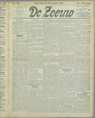 De Zeeuw. Christelijk-historisch nieuwsblad voor Zeeland 1918-12-14