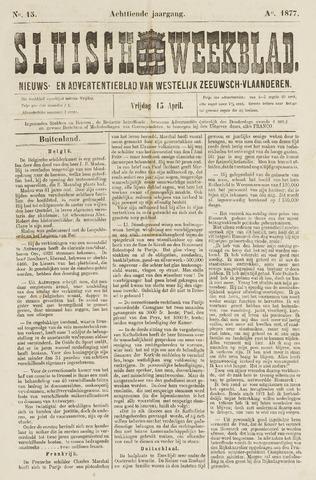 Sluisch Weekblad. Nieuws- en advertentieblad voor Westelijk Zeeuwsch-Vlaanderen 1877-04-13