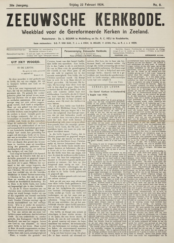 Zeeuwsche kerkbode, weekblad gewijd aan de belangen der gereformeerde kerken/ Zeeuwsch kerkblad 1924-02-22