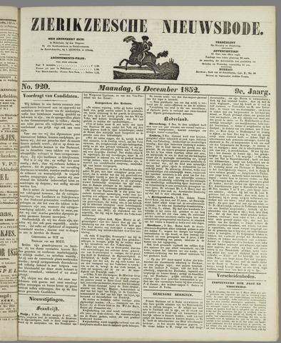 Zierikzeesche Nieuwsbode 1852-12-06