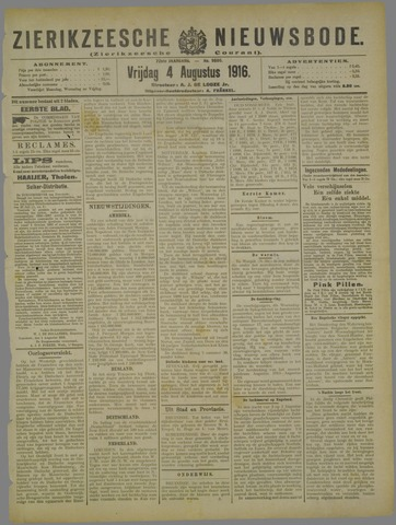 Zierikzeesche Nieuwsbode 1916-08-04