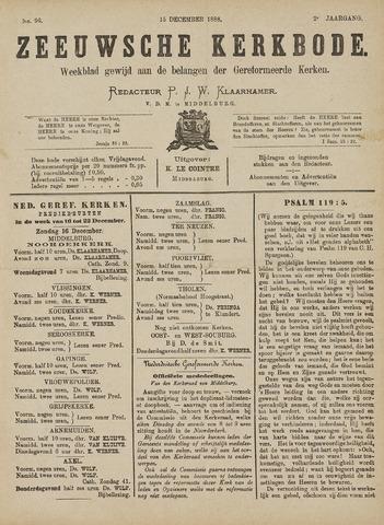 Zeeuwsche kerkbode, weekblad gewijd aan de belangen der gereformeerde kerken/ Zeeuwsch kerkblad 1888-12-15