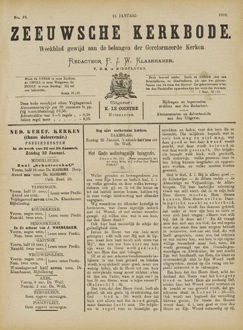 Zeeuwsche kerkbode, weekblad gewijd aan de belangen der gereformeerde kerken/ Zeeuwsch kerkblad 1888-01-21