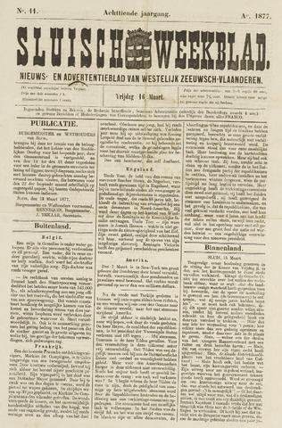 Sluisch Weekblad. Nieuws- en advertentieblad voor Westelijk Zeeuwsch-Vlaanderen 1877-03-16