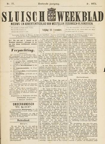Sluisch Weekblad. Nieuws- en advertentieblad voor Westelijk Zeeuwsch-Vlaanderen 1875-12-24