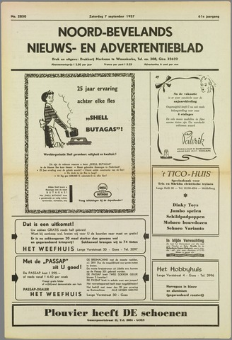 Noord-Bevelands Nieuws- en advertentieblad 1957-09-07