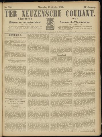 Ter Neuzensche Courant. Algemeen Nieuws- en Advertentieblad voor Zeeuwsch-Vlaanderen / Neuzensche Courant ... (idem) / (Algemeen) nieuws en advertentieblad voor Zeeuwsch-Vlaanderen 1892-10-12