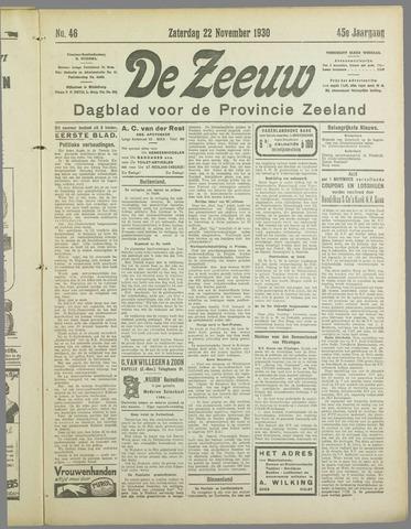 De Zeeuw. Christelijk-historisch nieuwsblad voor Zeeland 1930-11-22