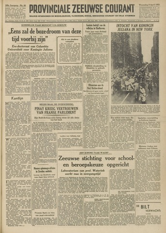 Provinciale Zeeuwse Courant 1952-04-09