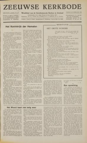 Zeeuwsche kerkbode, weekblad gewijd aan de belangen der gereformeerde kerken/ Zeeuwsch kerkblad 1958-02-28