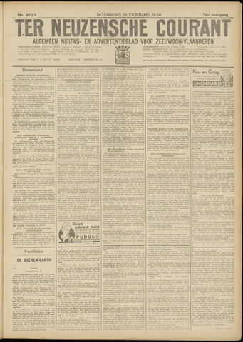 Ter Neuzensche Courant. Algemeen Nieuws- en Advertentieblad voor Zeeuwsch-Vlaanderen / Neuzensche Courant ... (idem) / (Algemeen) nieuws en advertentieblad voor Zeeuwsch-Vlaanderen 1938-02-16