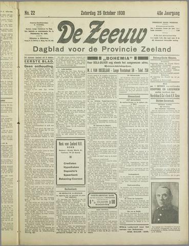 De Zeeuw. Christelijk-historisch nieuwsblad voor Zeeland 1930-10-25