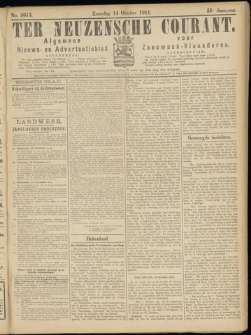 Ter Neuzensche Courant. Algemeen Nieuws- en Advertentieblad voor Zeeuwsch-Vlaanderen / Neuzensche Courant ... (idem) / (Algemeen) nieuws en advertentieblad voor Zeeuwsch-Vlaanderen 1911-10-14