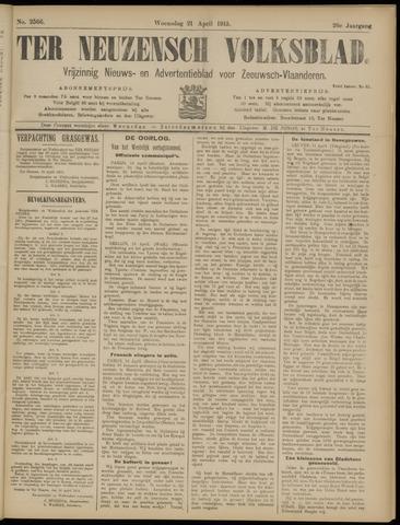 Ter Neuzensch Volksblad. Vrijzinnig nieuws- en advertentieblad voor Zeeuwsch- Vlaanderen / Zeeuwsch Nieuwsblad. Nieuws- en advertentieblad voor Zeeland 1915-04-21