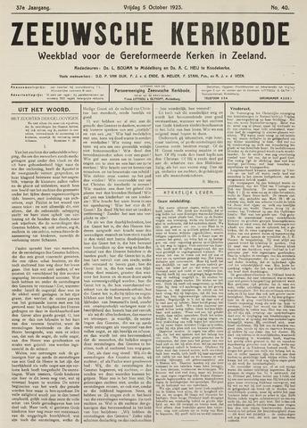 Zeeuwsche kerkbode, weekblad gewijd aan de belangen der gereformeerde kerken/ Zeeuwsch kerkblad 1923-10-05
