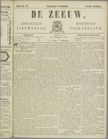 De Zeeuw. Christelijk-historisch nieuwsblad voor Zeeland 1888-09-13