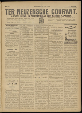 Ter Neuzensche Courant. Algemeen Nieuws- en Advertentieblad voor Zeeuwsch-Vlaanderen / Neuzensche Courant ... (idem) / (Algemeen) nieuws en advertentieblad voor Zeeuwsch-Vlaanderen 1933-06-26