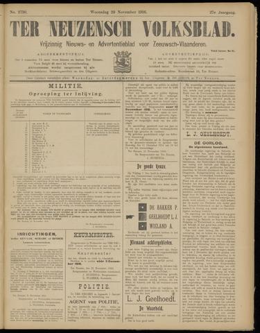 Ter Neuzensch Volksblad. Vrijzinnig nieuws- en advertentieblad voor Zeeuwsch- Vlaanderen / Zeeuwsch Nieuwsblad. Nieuws- en advertentieblad voor Zeeland 1916-11-29