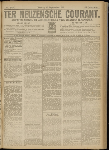 Ter Neuzensche Courant. Algemeen Nieuws- en Advertentieblad voor Zeeuwsch-Vlaanderen / Neuzensche Courant ... (idem) / (Algemeen) nieuws en advertentieblad voor Zeeuwsch-Vlaanderen 1916-09-26