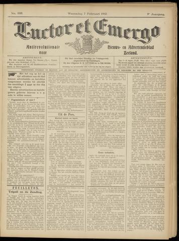 Luctor et Emergo. Antirevolutionair nieuws- en advertentieblad voor Zeeland / Zeeuwsch-Vlaanderen. Orgaan ter verspreiding van de christelijke beginselen in Zeeuwsch-Vlaanderen 1912-02-07